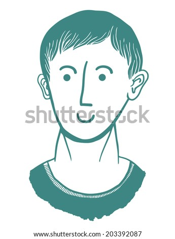 Face with happy expression - stock vector
