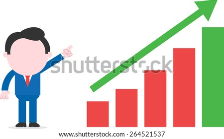 Faceless cartoon businessman pointing to bar chart with arrow moving up - stock vector
