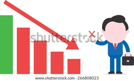 Faceless cartoon businessman with briefcase showing x standing beside declining bar chart - stock vector