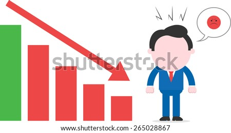 Faceless cartoon mad businessman with angry bubble standing beside declining bar chart - stock vector