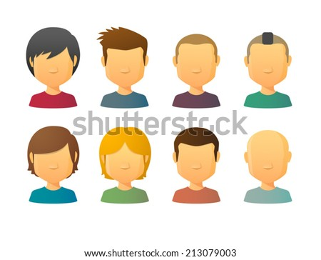 Faceless male avatars set with various hair styles - stock vector