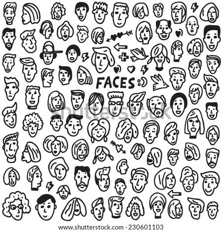 faces - doodles set - stock vector