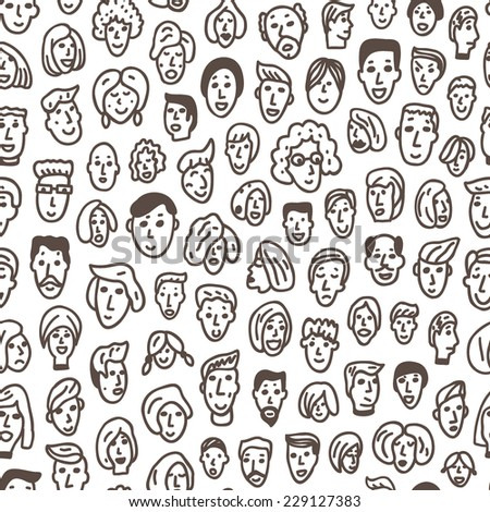 faces of people - seamless background - stock vector