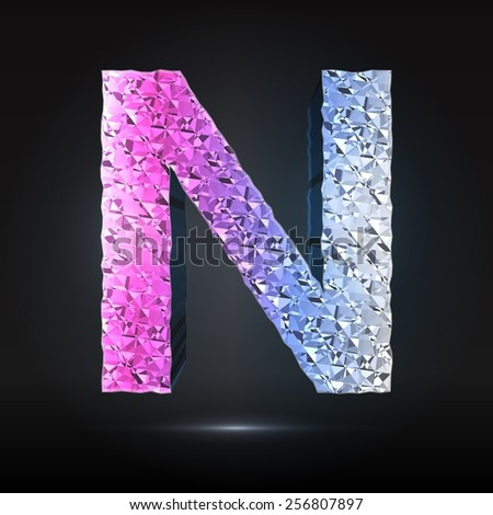 Faceted 3d diamond font - Glamour letter N - stock vector