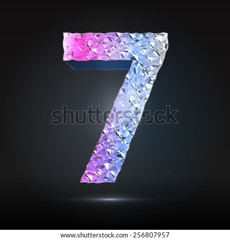 Faceted 3d diamond font - Glamour number 7 - stock vector