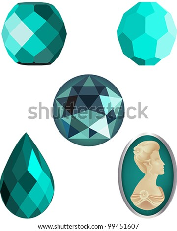 Faceted Turquoise Crystal Beads, four faceted vector beads and a cameo vector - stock vector
