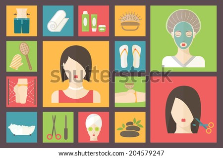Facial, body and hair care illustration. Beauty and spa procedures made in flat design. - stock vector