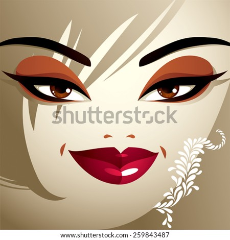 Facial emotions of a young pretty woman with a modern haircut. Gorgeous lady visage, expressive human eyes, lips and locks. - stock vector