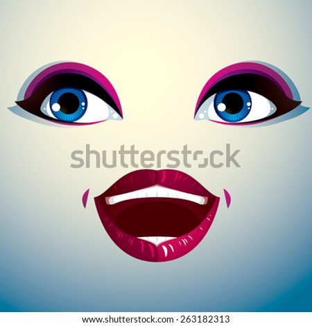 Facial expression of a young pretty woman. Gorgeous lady visage, human eyes and lips. - stock vector