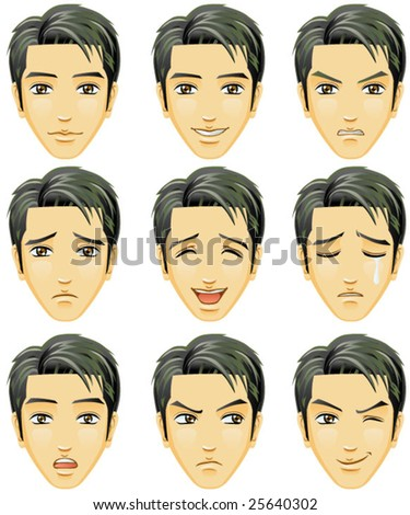 Facial expression of man (Asian Descent) - stock vector