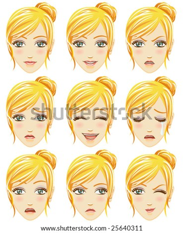 Facial expression of woman (Caucasian Descent) - stock vector