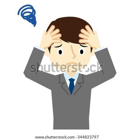 Facial expression suffering of businessman - stock vector