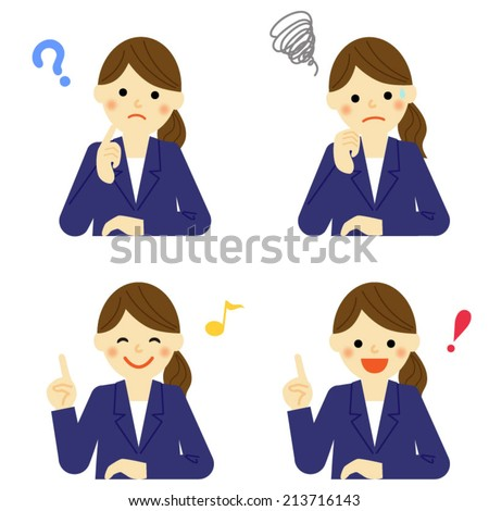 Facial expressions of business woman / Vector EPS 10 illustration  - stock vector