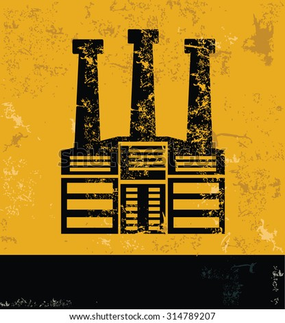 Factory and industry design on grunge yellow background, grunge vector - stock vector