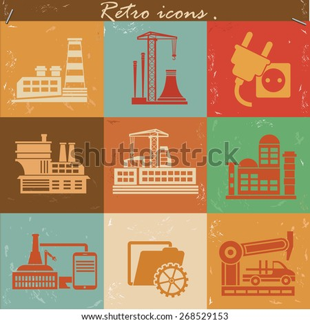Factory and industry icon set on retro background,clean vector - stock vector
