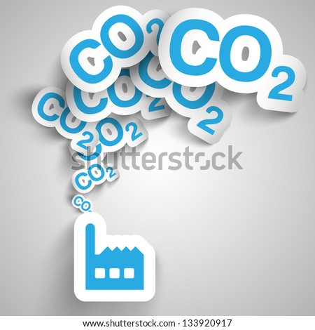 Factory blows out CO2 - stock vector