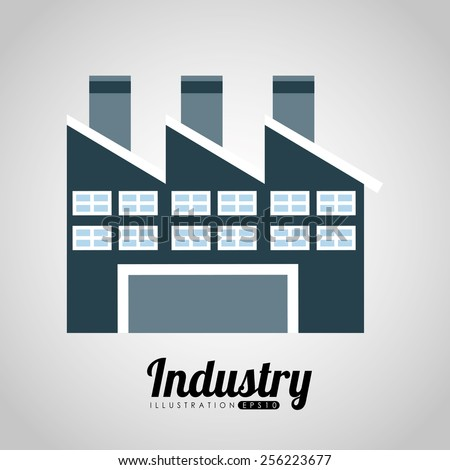 factory building design, vector illustration eps10 graphic  - stock vector