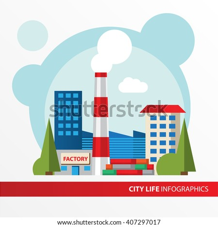 Factory building icon in the flat style. Industrial factory building with pipe. Concept for city infographic. Different types of industry of the city in the flat style. - stock vector