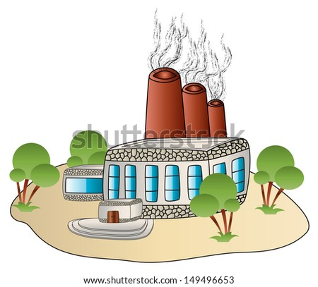 factory building plant in a cartoon style - stock vector