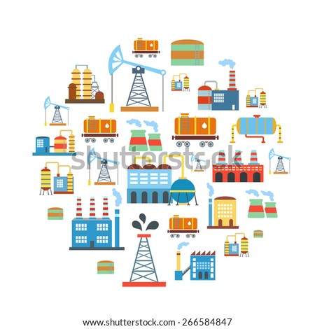 Factory flat industry background with manufacturer  production technology buildings vector  - stock vector
