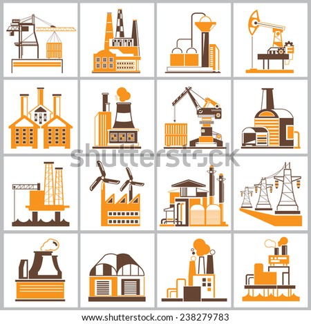 factory icons, industrial building icons with brown and orange theme - stock vector