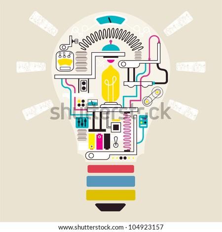 Factory in lamp, vector illustrator - stock vector