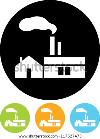 Factory. Industrial building - Vector icon isolated - stock vector