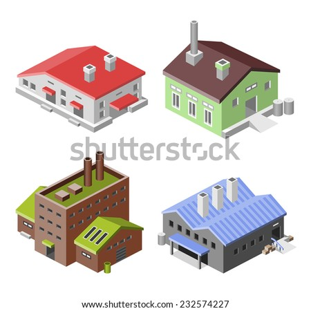 Factory industry manufactory production technology buildings isometric decorative icons set isolated vector illustration. - stock vector