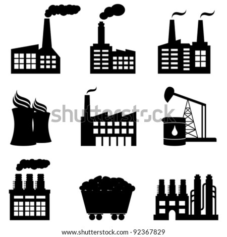 Factory, oil drilling, nuclear power plant and energy icons - stock vector