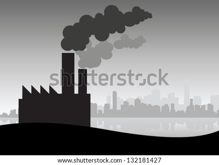 Factory pollution - stock vector