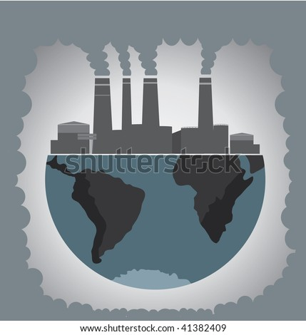 Factory pollution. - stock vector
