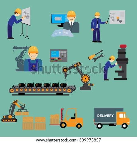 Factory production process of design manufacture assembly test deliver infographic vector illustration - stock vector