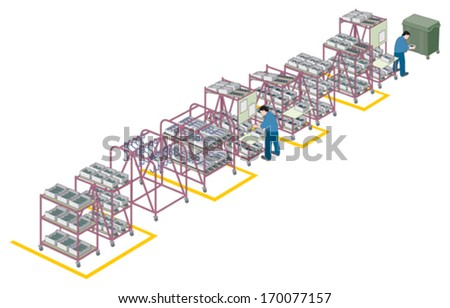 Factory supply and production line 1 vector - stock vector