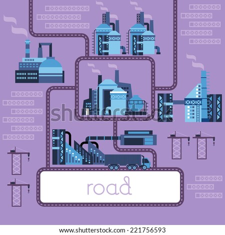 Factory urban Industrial landscape. Ecology, environmental protection: production, factory, plant, pollution, smoke, building. Vector flat illustrations purple. Road Series. - stock vector