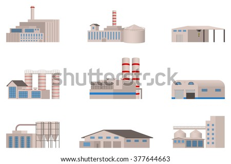 Factory vector icon in the flat style. Isolated on white background. - stock vector