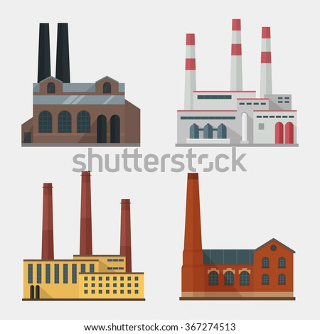 Factory vector set. Factory building. Factory icon in the flat style. Industrial factory building. Factory concept. Factory isolated from the background. Manufacturing factory building. Factory flat. - stock vector