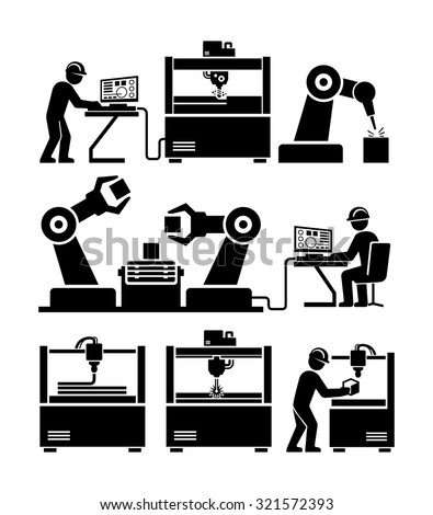 Factory worker working with machinery vector icons. CNC milling engraving. Laser cutter. 3D printer. Robotic production line.  - stock vector