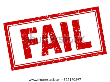 fail red square grunge stamp on white - stock vector