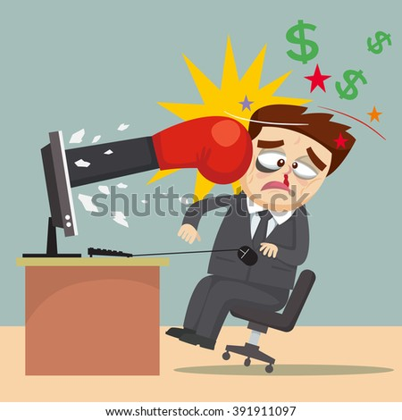 Failed businessman  money computer punching by boxing gloves,  vector  illustration - stock vector