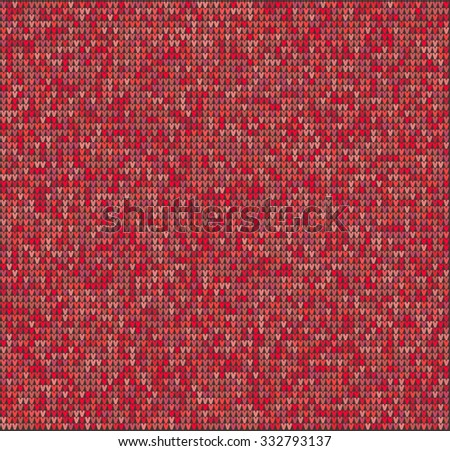 Fair Pattern sweater design on the wool knitted texture. Red Knitting Ornament, crochet - stock vector