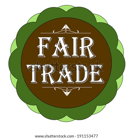 Fair trade stamp, label green and brown vector illustration - stock vector