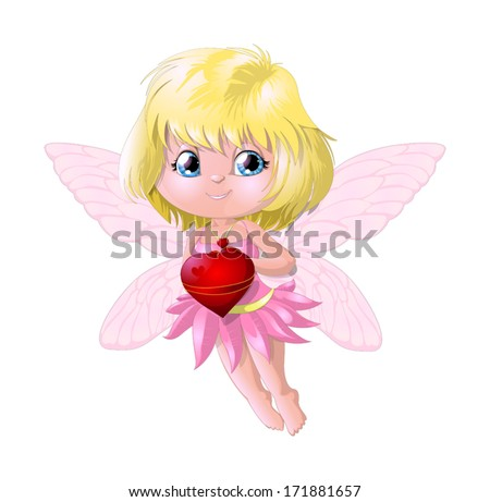 fairy and heart - stock vector