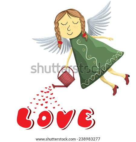Fairy angel watering love isolated on white background - stock vector