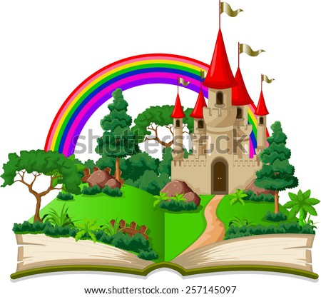 fairy castle appearing from the old book  - stock vector