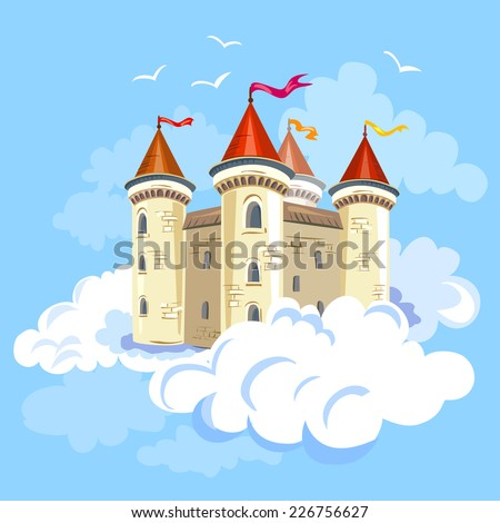 fairy castle in the air in the clouds. vector illustration - stock vector
