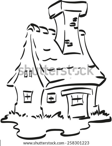 Fairy house. Nice fairy house with a huge chimney. Coloring page for little children. - stock vector