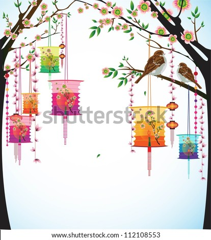 Fairy-lights. Big colorful lanterns will bring good luck and peace to prayer during Chinese New Year. - stock vector
