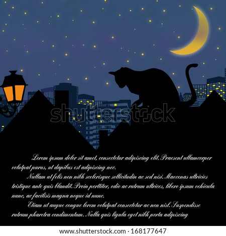 Fairy night background with cat on roof and space for your text, vector illustration - stock vector