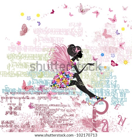 Fairy on the grunge background with letters - stock vector