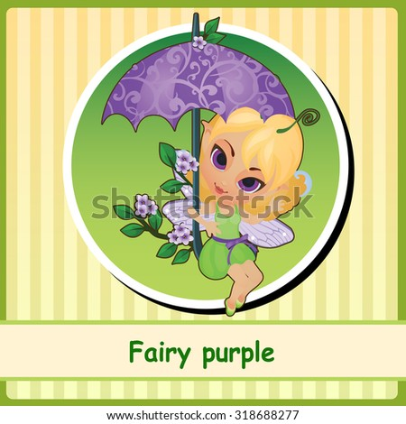 Fairy purple - cute girl illustration closeup. You can use it as icon or a card with space for text - stock vector